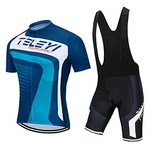 Ciclismo Maillot Hombre Jersey Antalones Cortos Culote Mangas Cortas de Ciclismo Conjunto Ropa 3D Gel Acolchado Transpirable Verano para Deportes al Aire Libre Ciclo QXF-7,A,3XL