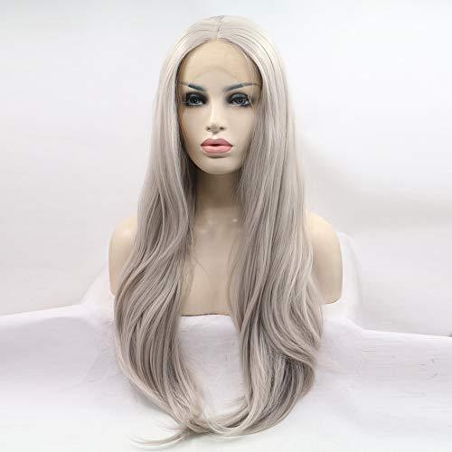 Layla Beauty Store Peluca Lace Front Sintéticas Larga Recto Kardashian Estilo Parte Media Peluca Plata Gris Pelo Mujer Resistente al Calor,Gray