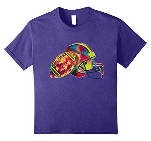 Kids Football T Shirt Helmet Ball Sport American Cool Design 8 Purple