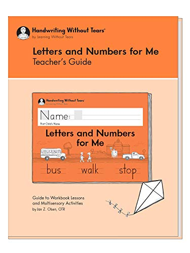 Learning Without Tears - Letters and Numbers for Me Teacher's Guide, Current Edition - Handwriting Without Tears Series - Kindergarten Writing Book - Capital Letters, Numbers - for School or Home Use