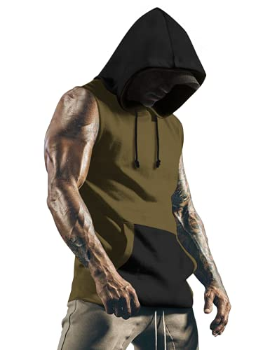 COOFANDY Men's Workout Cotton Hoodie Vests Bodybuilding Gym Sleeveless Pullover Sweatshirt, Army Green, Large