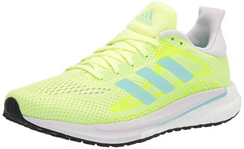 adidas Women's Solar Glide Running Shoe, Yellow/Aqua/Dark Grey, 9