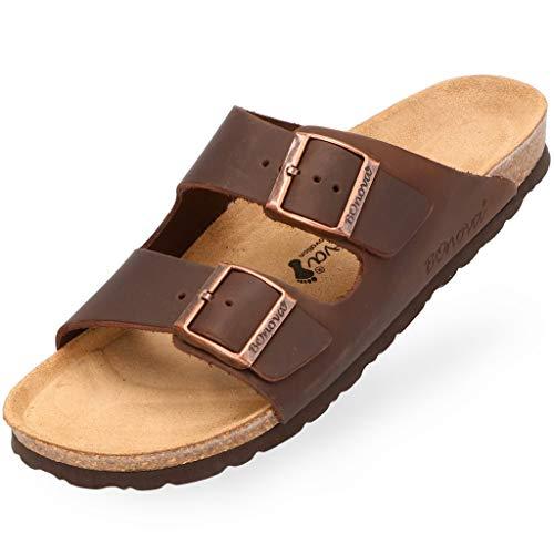 BOnova Schwanberg Echtleder Herren Pantolette in braun, Größe 45. Bequeme Hausschuhe aus Echtleder mit Kork-Fußbett - Sandalen hergestellt in der EU