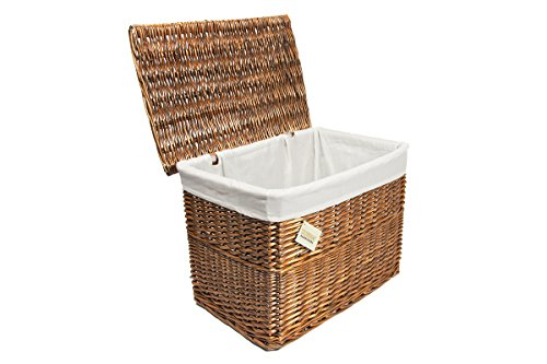 Woodluv Lrg Brown Wicker Storage Basket Trunk Chest Hamper Lidded W/White Lining