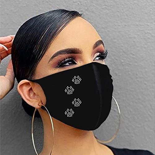 N/J Taladro de Punta de Diamantes de imitación para Mujer, a Prueba de Polvo, Reutilizable, pañuelos de algodón Lavables Pañuelos de algodón de Hielo de Moda Transpirable al Aire Libre para Mujeres
