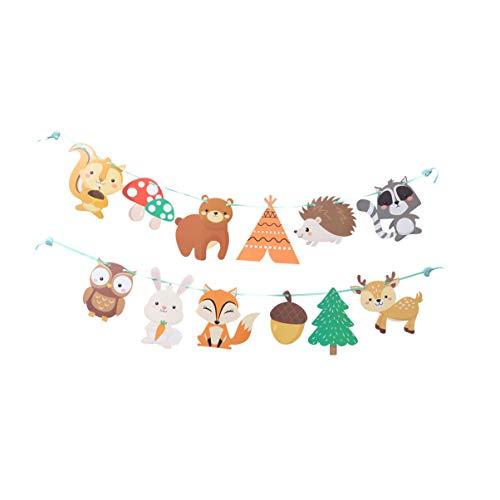 Amosfun fiesta de cumpleaños animal banner guirnalda de papel decorativo para niños suministros de fiesta de cumpleaños
