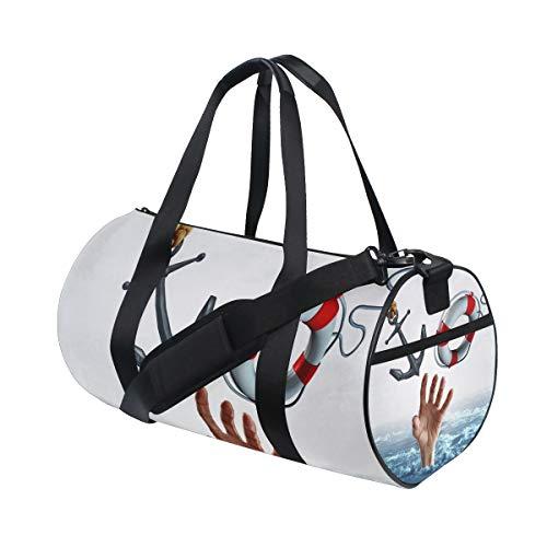KISSENSU Gym Bag,Sporttasche Leben Tod Konzept Waschbecken Schwimmen Symbol,New Canvas Print Eimer Sporttasche Fitness Taschen Reisetasche Gepäck Handtasche