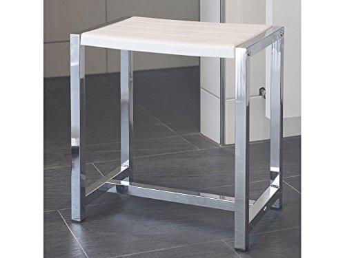 GGG-Möbel Duschhocker Badhocker 50 Plus Edelstahl poliert weiß