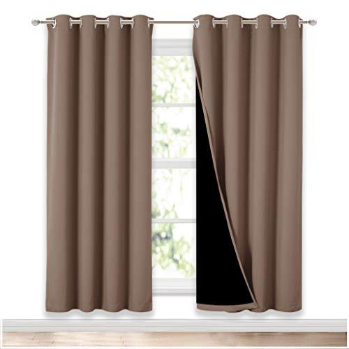 Cortinas de NICETOWN para sala de estar completamente sombreadas, protección de la privacidad y reducción de ruido, cortinas con aislamiento de color negro, 2 unidades, ancho 52 x largo 72