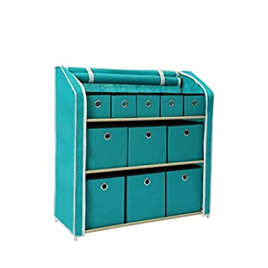 Homebi Multi-Bin Storage Shelf 11 Drawers Storage Chest Linen Organizer Closet Cabinet with Zipper Covered Foldable Fabric Bins and Sturdy Metal Shelf Frame in Turquoise,31 W x12  Dx32 H