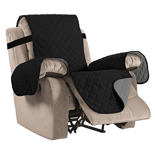BellaHills Wendbare Stuhlabdeckung für Hunde Pet Abdeckung für Stuhl/Stuhl Schonbezug/Stuhlschutz, Maschinenwaschbar, Double Diamond Quilted (Recliner: Schwarz/Grau)