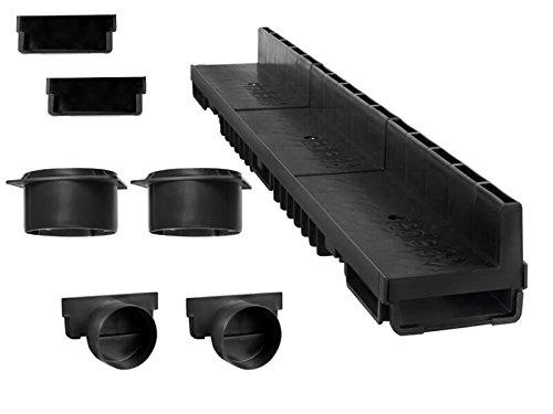Schlitzrinne Set 12 Meter   Kunststoff schwarz Klasse B125   Typ 20 (Entwässerungsrinnen)