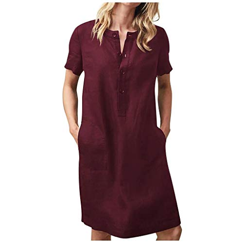 Fashion Womens Casual Loose Solid Color Cotton and Linen Short Sleeve Dress Summer 3/4 Button V-Neck T-Shirt Dresses Wine