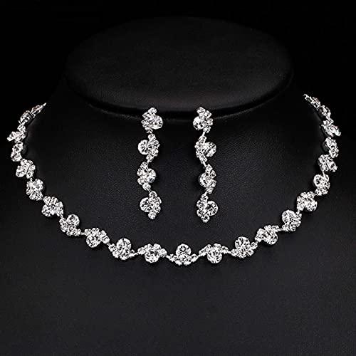 YUANBOO Conjunto De Pendientes De Gargantilla De Cristal De Diamantes De Imitación De Color Plateado para Mujer Conjuntos De Joyas De Boda para Dama De Honor Florales
