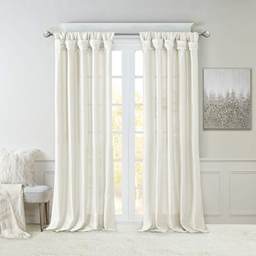 Madison Park Emilia Faux Silk Curtain with Privacy Lining, DIY Twist Tab Top, Window Drapes for Living Room, Bedroom and Dorm, 50x108, White