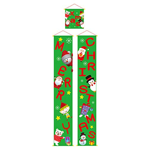 Iusun Sign Porch Curtain Christmas Banner Wall Hanging Decorations Pendant Scene Ornament DIY Xmas Tree Window Decor for Party New Year