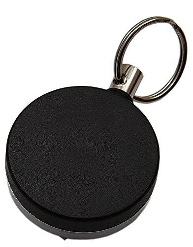 Praktischer Rollmatik/Schlüsselkette aus Metall in Schwarz/Silber - Extra Reißfeste Schnur