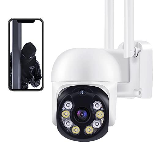 Aottom 3MP Camara Vigilancia WiFi Interior Exterior Camara de Video - 360°/ 4X Zoom/ Tuya App/ Detector de Movimiento Alarma/ Audio de Dos Vías/ 40M Visión Nocturna/ Soporta Tarjeta SD MAX 128G