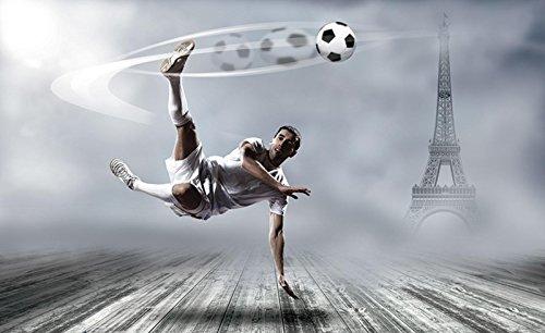 Welt-der-Träume Fototapete Tapete Wandbild Fußballspieler und Eiffelturm | P4 (254cm. x 184cm.) | Photo Wallpaper Mural 2255P4-MS | Fußball Sport Tor Sportler Sportplatz Lewandowski