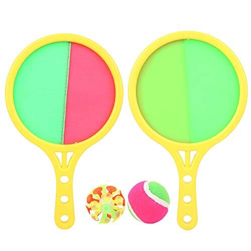 Bicaquu Stick Schläger und Bälle, die vordere seitliche Klettverschlussabdeckung das rückseitige Saugnapf-Design Fangballschlägerset, glatt für Kinder Trainingsspielanfänger