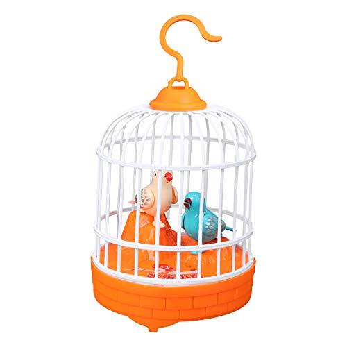 TOYANDONA Jaula de Pájaros Colgante Juguete Niños Cantando Pájaro Chirriante Juguete Sonidos Realistas Movimientos Figura de Pájaro Mascota Pájaro Enjaulado Juguete Naranja