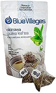 Guava Tea by Blue Villages - Improve Sleep | Anti-Diarrhea | Support Lower Cholesterol & Diabetes | 100% Pure Leaf, Natural, Organic, Caffeine-Free, 20 Tea Bags (2g each) from Okinawa, Japan