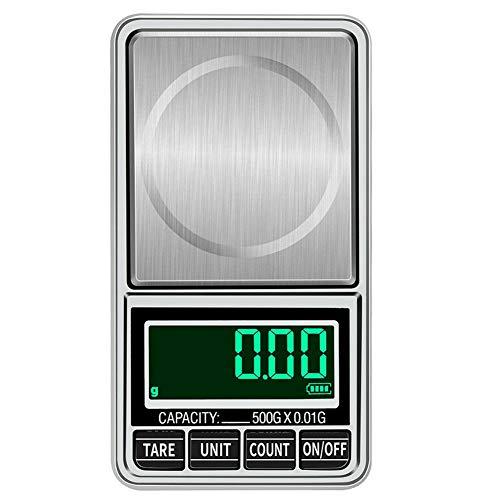 Sonline BáScula Digital de Bolsillo, 500Gx0.01G, BáScula Digital de Peso Gramo, BáScula ElectróNica PortáTil de Alta PrecisióN para Joya, BáScula para Alimentos