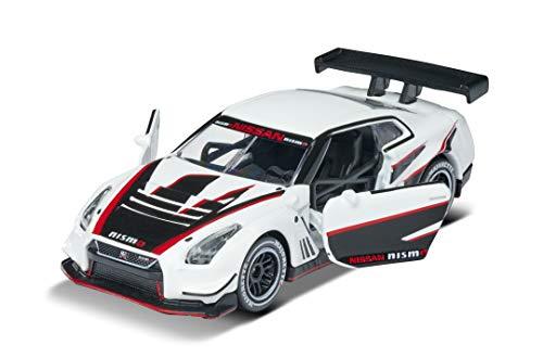 Majorette Racing Nissan Nismo GT3 Drift, Spielzeugauto, Freilauf, zu öffnende Teile, Sammelkarte, 7,5 cm, weiß/schwarz, für Kinder ab 3 Jahren
