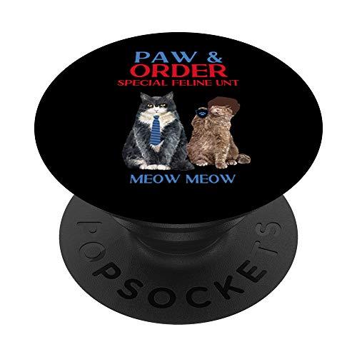 Paw & Order Unidad felina especial Miau Miau Gracioso gato PopSockets PopGrip: Agarre intercambiable para Telfonos y Tabletas