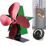 Ventilador de estufa de leña, 4 aspas de funcionamiento silencioso, color negro y rojo