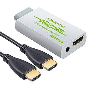 LiNKFOR - Convertidor de HDMI de Wii a HDMI con cable HDMI de 3 pies/conversor de Wii a 720p y 1080p HDMI - Wii2HDMI 720P o 1080P convertidor de vídeo HDTV + salida de audio de 3,5 mm