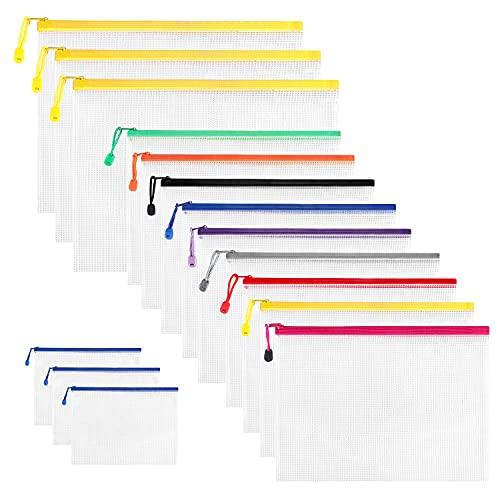 Nordun 15 Piezas Bolsas de Documentos A3+A4+A6,Bolsa de Archivo de Cremallera Carpetas de Documentos,Carpetas de Plástico para Cosméticos Suministros de Oficina Accesorios,Varios tamaños ⭐