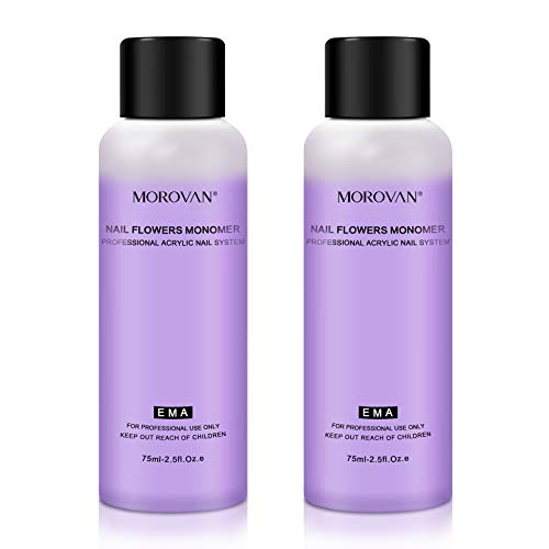 Morovan Acrylic Liquid Monomer, Non-Yellow Monomer Acrylic Nail Liquid 2PCS 2.5OZ for Acrylic Powder MMA Free Medium Drying Time