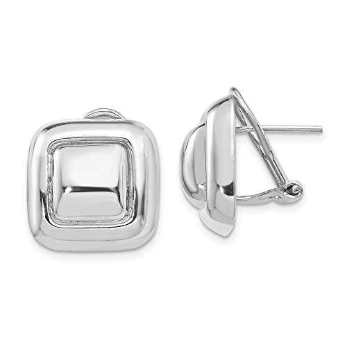 14k White Gold Square Button Omega Back Post Stud Earrings Ball Fine Jewelry For Women Gifts For Her