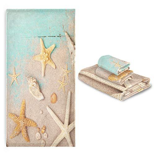 CaTaKu Towels Set 3-Piece, Ocean Sea Star Towel Bathroom Sets, 1 Bath Towel, 1 Washcloth, 1Hand Towel, Shell Beach Towel Set of 3 Soft Multifuntion for Home Kitchen Hotel Gym Swim Spa.