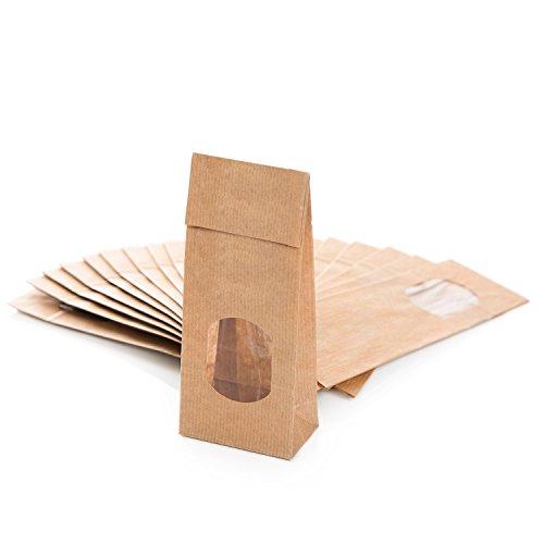 Logbuch-Verlag 25 braune Blockbodenbeutel Papiertüten FENSTER 7 x 4 x 20,5 cm mit Folieneinlage lebensmittelecht Verpackung Kraftpapier Teetüten Kekse Pralinen