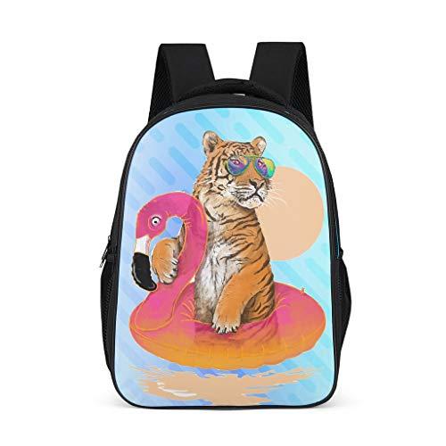 O5KFD&8 Daypack Tiger&Flamingos Finkid Rucksack, Rucksack Jungen Kinder - Swimming Schul Rucksäcke Mädchen Volksschule Schultasche Grey OneSize
