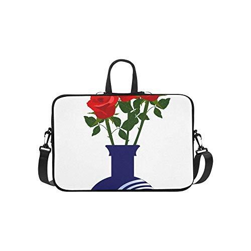 Laptop Umhängetasche Umhängetasche Tasche Notebook Griff Ärmel Neopren Soft Carring Tablet Reisetasche, Rote Rosen Grüne Blätter Blaue Vase Laptop Handtaschen 14