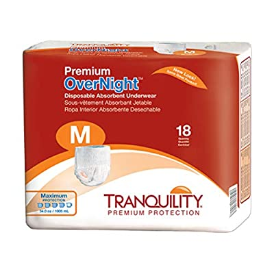 Tranquility Premium Overnight Disposable Absorbent Underwear (DAU) (Medium - 18 Count), White by Principle Business Enterprises/Incontinence