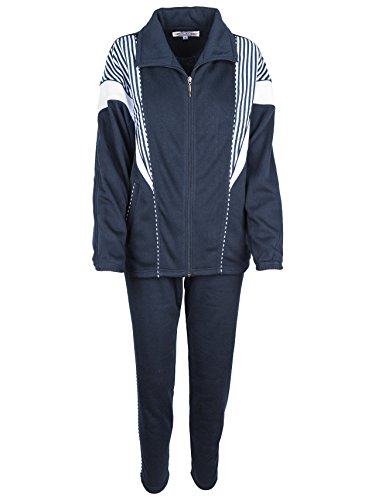 SOUNON Damen Baumwolle Trainingsanzug, Jogginganzug, Sportanzug, Freizeitanzug, Hausanzug Dunkelblau, Groesse: XL