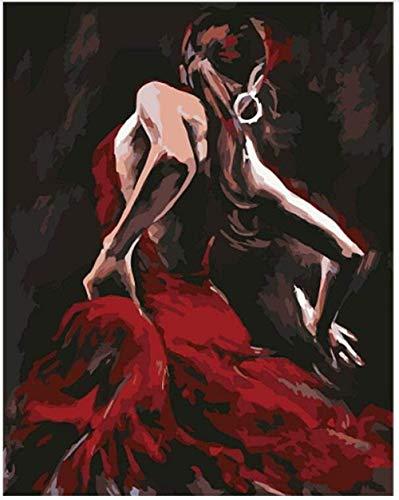 LSDEERE - Kit de Pintura al óleo sobre Lienzo para Adultos y niños, Bailarina roja, Kit de Pintura por números para decoración del hogar sin Marco, 40 x 50 cm