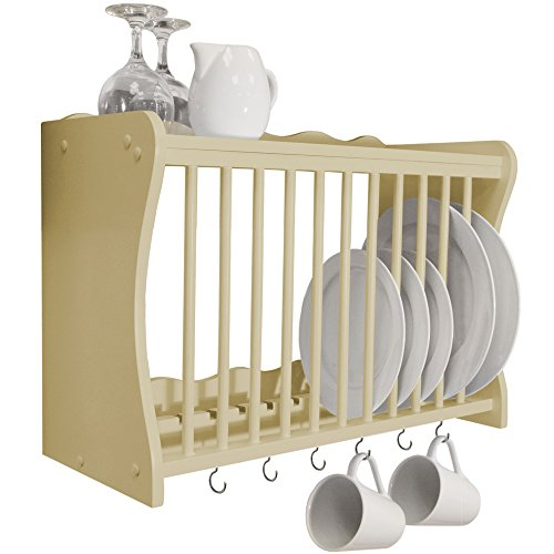 WATSONS CHESHUNT - Wall Mounted Kitchen Plate Cup/Storage Rack with Hooks - Buttermilk