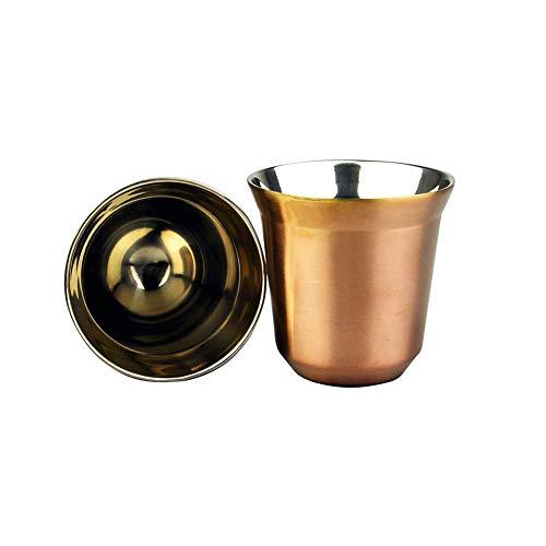 Taza de café de acero inoxidable, multifunción, aislante térmico, reutilizable, práctica taza de café de acero inoxidable, fácil de limpiar, sólida, cocina, doble pared, camping, oro rosa, talla abierta