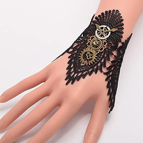 lehao Guantes vintage para muñeca con diseño retro, color negro, brazalete de encaje único (color: C, tamaño de guantes: talla única)