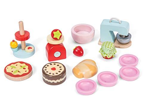 Le Toy Van Ensemble d'accessoires en Bois pour Maison de poupée avec mixeur, gâteau, présentoir à gâteau, Pizza, Bols, balances