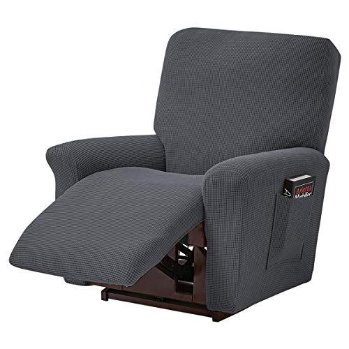 ele ELEOPTION Recliner Sofabezug, Stretch Ruhesessel Bezug, Spandex Jacquard 4-teilige Relaxsessel Bezug, Stretchhusse für Liegesessel Relaxsessel Massagesessel (Dunkelgrau)