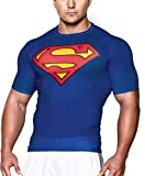 GYM GALA Superman t Shirt Short Sleeve Casual and Sports Compression Shirt (XX-Large, Blue)