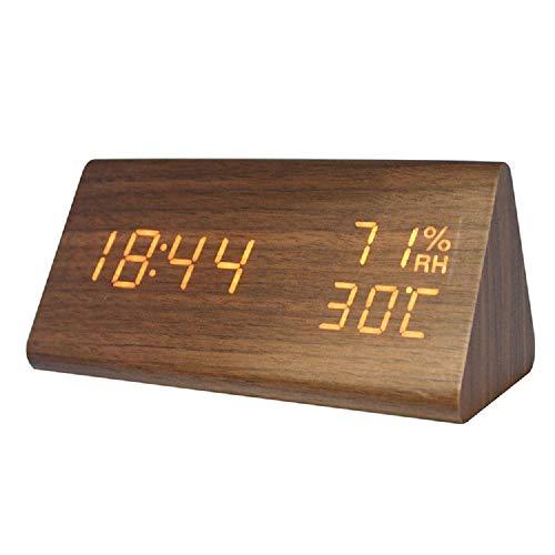 InChengGouFouX Digitale bureauwekker, houten led-wekker, multifunctioneel, 3 aparte alarmsignalen, touch control, temperatuur