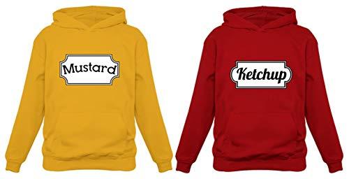 Disfraz de ketchup y mostaza a juego con capucha para Halloween - Multi - mustard XL/ketchup XL