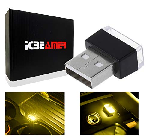 ICBEAMER [Color:Yellow Universal USB Interface Plug-in Miniature Night Light LED Car Interior Trunk Ambient Atmosphere